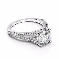 Engagement Ring 925 Sterling Silver 2.86 Ct Off White Moissanite Forever
