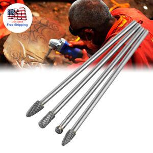 4 Rotary Burr Set Head Tungsten Carbide Burrs 1/4'' Shank Double Cut Carbide Bit