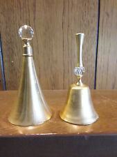 Set of 2 Gold Tone Bells with crystal