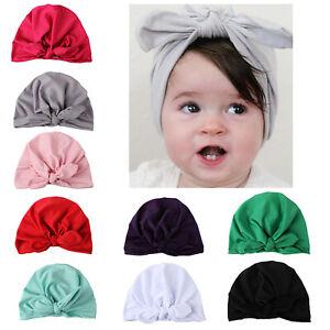 Newborn Kids Girls Baby Turban Knot Head Wrap India Beanie Hat Cap Soft Headband
