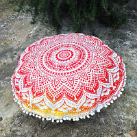 "Indian Ombre Mandala Floor Pillow Home Decor 32"" Round Cushion Pouf Pom Lace"