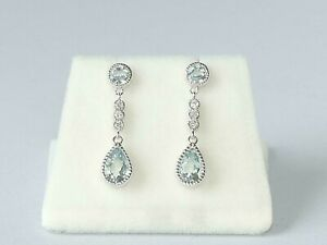 Ladies Hallmarked Solid 18 Carat White Gold Aquamarine and Diamond Drop Earrings