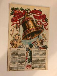 A Happy New Year 1912 Calendar Big Bell Angels Farm Progress Ad Postcard
