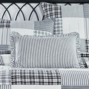 VHC Sawyer Mill Black White Ticking Stripe Ruffled Country Cottage Accent Pillow