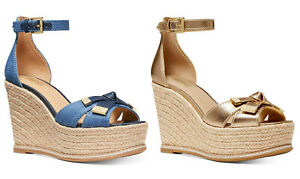 Michael Kors Ripley Wedge Espadrille Sandals Leather Gold or Denim