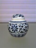 Antique Chinese Blue White Porcelain Miniature Ginger Jar