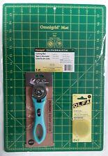 "Omnigrid Cutting Mat 12""x18"" Set, EverSewn Rotary Cutter&OLFA Rotary Blades 45mm"