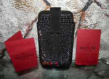 NWT VALENTINO GARAVANI Stud Black Leather Suede Card Key Phone Case Wallet Pouch