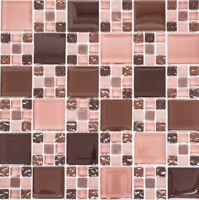 Glasmosaik Kombination mix bordeaux/bordeaux matt Küche Art:78-1304   10 Matten