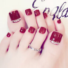 24Pcs Wine Red Rhinestone Foot Toe Nail Sticker DIY Fake Nail Tip Art Decor Char