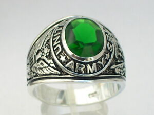925 Sterling Silver United States Army Military May Emerald Men's Ring Size 7-14