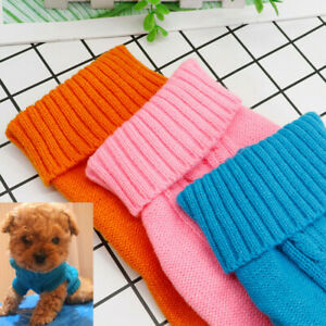 Dog Coat Knitted Jumper Warm Clothes Pet Outfit Sweater Puppy Teacup Extra Small