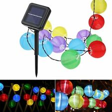 21.3-Foot 30 LED Solar Powered Multi-Color Fabric Lantern Garden String Lights