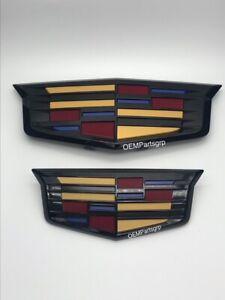 OEM 15-20 Cadillac Escalade/ESV  Grille/Hatch Emblem Set Painted GM Gloss Black