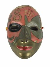 Vintage Solid Brass Wall Decor Painted Face Mask Mardi Gras Art