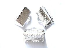 20 Chapado en Plata Cinta Tanga Crimps fabricación de joyas casquillos de extremo hallazgos 10mm
