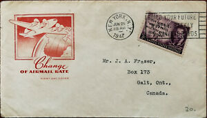 Change of Airmail Rate First Day Cover Posted from New York in 1947