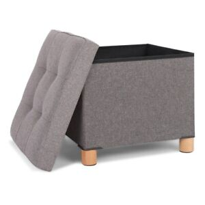 Cubic Storage Footstool Ottoman 3 In 1 Bedroom Living Room Hemp Footstool