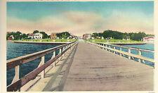 Municipal Pier Toward City Park Panama City FL  Unused Mint Linen Postcard 10164