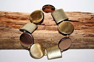 Vintage Designer Style Woman's Wristband Bracelet Resin Brown Gold Color Elastic