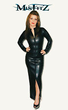 Misfitz leather look zip hobble mistress dress  sizes 8-32 or made to measure