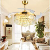 """42""""/36"""" Retractable Crystal Ceiling Fan Light LED 3-Color Chandelier Remote 110V"""