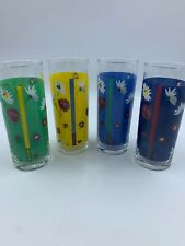 Ralph Lauren Drinking Glasses Tumblers Juice Cup Floral Barware 13 Oz Set Of 4
