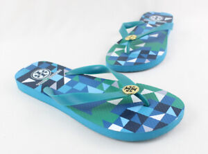 Tory Burch Teal Rubber Gold Toned Logo Accent Flip Flop Sandal Size 7 8
