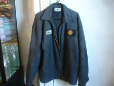 """Shell Gas Station """"Dave"""" Jacket Coat Size Large UniWear W/Lining Gray Black"""