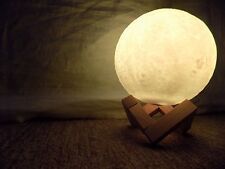 3D Moon Lamp Printing LED Rechargeable USB Night Light With Wooden Holder 16-col