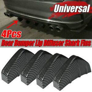 4pcs Car Rear Bumper Lip Diffuser Shark Fins Splitter Carbon Fiber Universal