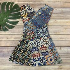Desigual Womens Sheath Dress Size 36 XS Blue Red Mixed Floral Print Wrap Top