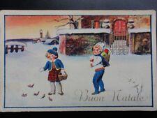 Italy: 'Buon Natale.....' showing children in winter scene - Old Postcard