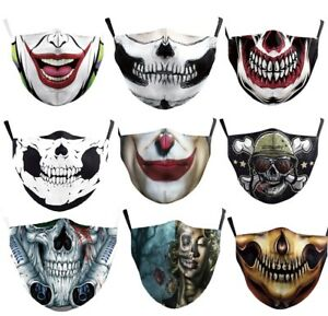 Face Mask Cover With Carbon Filter Adjustable Halloween Skull Horror Scary Joker