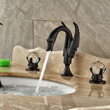 Oil Rubbed Bronze Widespread Bathroom Basin Faucet Sink 2 Knobs Mixer Taps