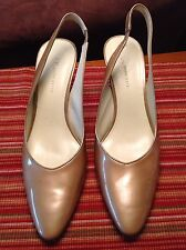 "Anne Klein Women's(Size 8""5M) Gold Patent Leather Slingback Pump Heels ""EUC"""