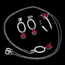 Pear Red Ruby 7x5mm White Cz 14K White Gold Plate 925 Sterling Silver Sets