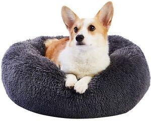 Cosy Donut Dog Bed Medium Washable,Fluffy Plush Cuddler Calming Kennel Snuggle P