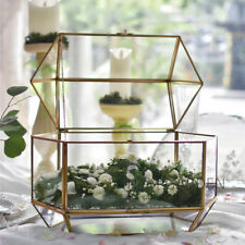 Large Geometric Glass Wedding Card Box Reception Card Display with Swing Lid