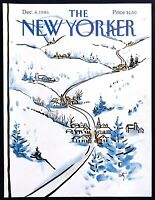 1986 Snowy Mountain Town art by Arthur Getz December 8 New Yorker Mag COVER ONLY