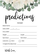 10 Baby Prediction Cards Baby Shower Games 19cm x 13.5cm 300gsm Cardstock