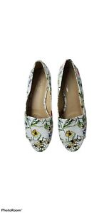 Aerosoles Heelrest Womens Application White Floral Peep Toe Wedge Heels Sz 9.5