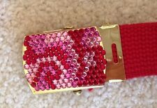 Womens belt with beaded buckle and canvas strap