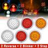 Round LED Rear Tail Lights 2 Reverse + 2 Blinker + 2 Stop Truck Trailer Car