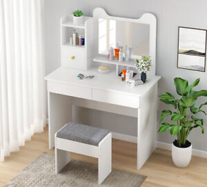 Modern White Dressing Table Makeup Vanity Desk Bedroom w/ 3 Drawer&Mirror&Stool