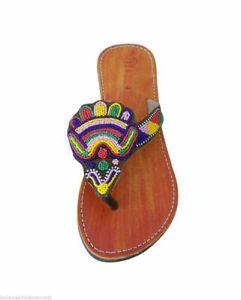 Women Slippers Indian Handmade Flip-Flops Designer Leather Camel Jutties US 8