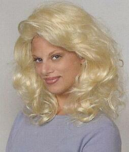Short Mid-Length Wavy Blond Wig, Layered Shag w/ Bangs