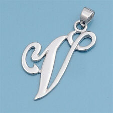 Alphabet Initial Pendant Sterling Silver 925 Rhodium Plated Jewelry Letter V