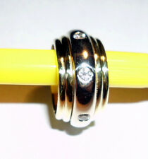 VINTAGE 18K YELLOW & WHITE GOLD BAND RING WITH 0.70 CTW DIAMONDS 17.5 GRAMS!