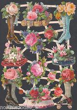 VICTORIAN BOOT SKATES FLORAL SPRING ROSES GERMAN PAPER  CUT 2013 ART EMBOSSED